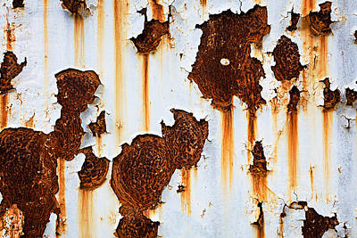 School Teaching - Corroded white metal background. Rusted white painted metal wall. Rusty metal background with streaks of rust. Rust stains. The metal surface rusted spots. Rystycorrosion.  by Julien