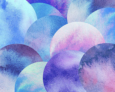 Royalty-Free and Rights-Managed Images - Cosmos Round Spheres Watercolor Planet Parade I  by Irina Sztukowski