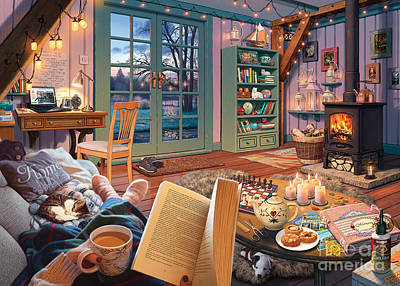 Digital Art - Cosy Cabin by MGL Meiklejohn Graphics Licensing