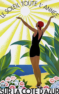 Drawings Royalty Free Images - Cote DAzur France Travel Poster 1931 Royalty-Free Image by Roger Broders