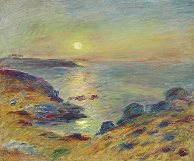 Door Locks And Handles - Coucher de soleil a Douarnenez by Pierre-Auguste Renoir