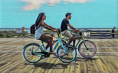 Surrealism Royalty-Free and Rights-Managed Images - Couples Morning Bike Ride on the Boardwalk by Surreal Jersey Shore