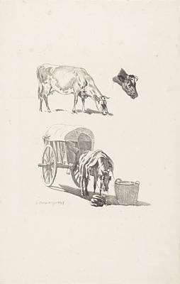 Animals Paintings - Cow a cows head and a horse with cart Gijsbertus Craeyvanger 1828 by Arpina Shop