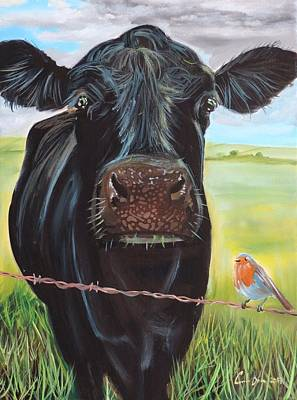 Painting - Cow And A Robin by Gordon Bruce