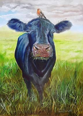 Painting - Cow And A Robin Painting by Gordon Bruce