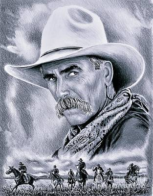 Animals Drawings - Cowboy grey edit by Andrew Read