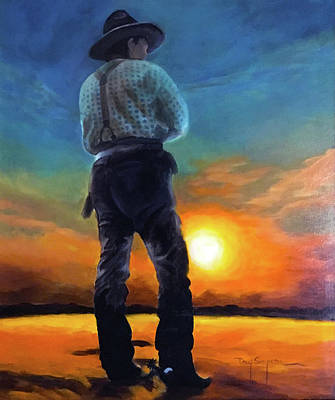 Painting - Cowboy Sunset by Doug Simpson