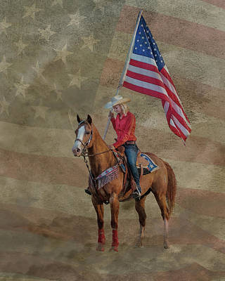 Abstract Stripe Patterns - Cowgirl Flag Bearer by Fon Denton