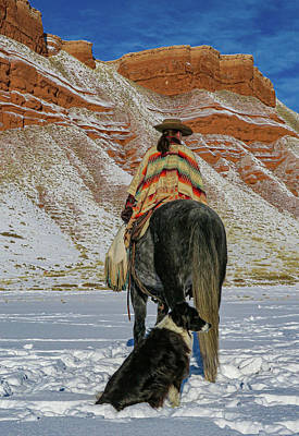 Kim Fearheiley Photography - Cowgirl, Horse, and Dog Against Red Rocks by Julie A Murray