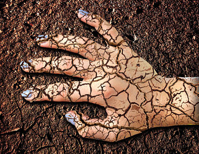 Surrealism Digital Art - Cracked Hand and Ground Surreal by Barroa Artworks