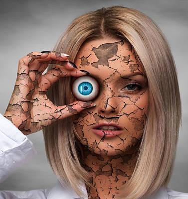 Surrealism Digital Art - Cracked Woman Face and Eyeball Surreal by Barroa Artworks