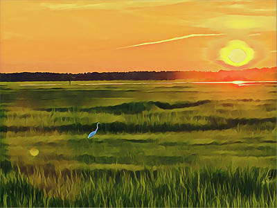 Surrealism Royalty-Free and Rights-Managed Images - Crane at Sunset by Surreal Jersey Shore