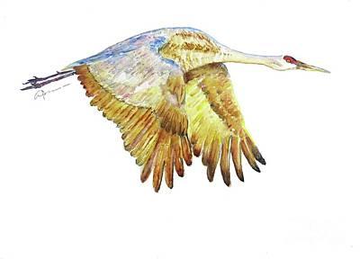 Painting - Crane in Flight No. 2 by Claudia Hafner