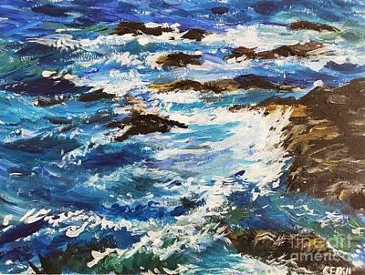 Farmhouse Royalty Free Images - Crashing Waves near Beavertail Lighthouse, Jamestown, Rhode Island Royalty-Free Image by C E Dill