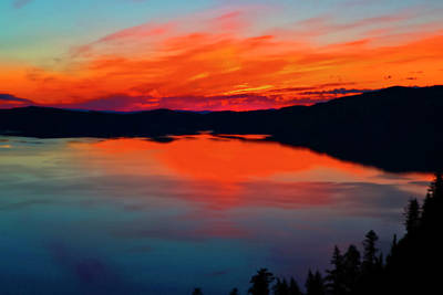 Abstract Stripe Patterns - Crater Lake Sunrise 06 24 20 by Joyce Dickens