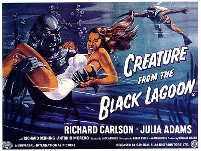 Mixed Media Royalty Free Images - Creature from the Black Lagoon poster 1954 Royalty-Free Image by Stars on Art