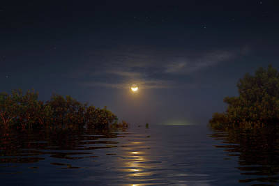 Surrealism Royalty Free Images - Crescent Moon Over Florida Bay Royalty-Free Image by Mark Andrew Thomas