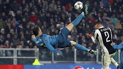 Sports Royalty-Free and Rights-Managed Images - Cristiano Ronaldo Bicycle Kick  by Michael Stout