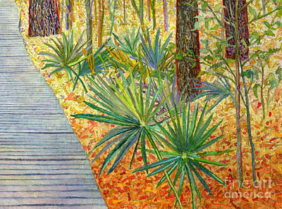 Popstar And Musician Paintings Royalty Free Images - Crossing Chinquapin Trail-Palmetto Royalty-Free Image by Hailey E Herrera
