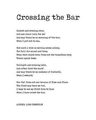 Digital Art - Crossing The Bar - Alfred Lord Tennyson Poem - Literature - Typewriter Print 1 by Studio Grafiikka