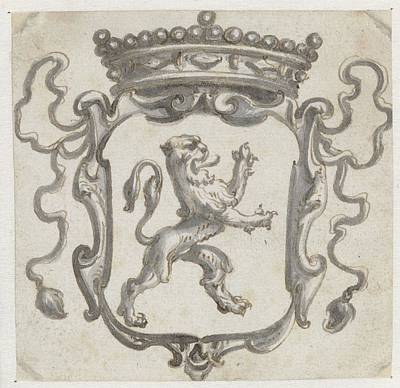Animals Paintings - Crowned escutcheon with a climbing lion Pieter Jansz 1630  1672 by Arpina Shop