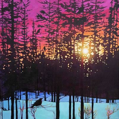 Painting - Crows at Sunset by Alison Newth