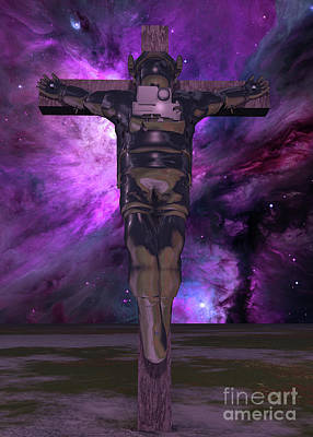 Surrealism Royalty Free Images - Crucified astronaut Royalty-Free Image by Bruce Rolff