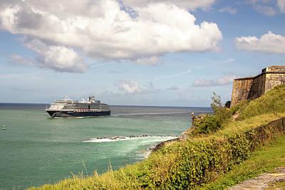 Zen Garden - Cruise ship in San Juan Bay by Karen Foley