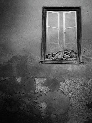 Surrealism Royalty-Free and Rights-Managed Images - Crumbling Wall with Painted Window by Mark Robert Davey