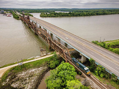 Personalized Name License Plates - CSX southbound work train over the Tennessee River at New Johnsonville TN by Jim Pearson