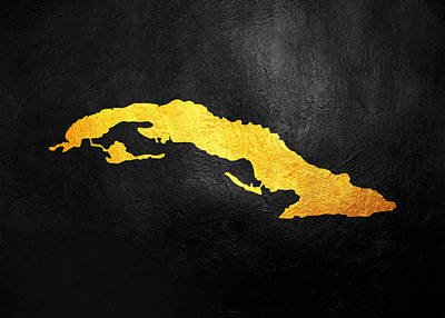 Kim Fearheiley Photography - Cuba Gold Map Wall Art by AB Concepts