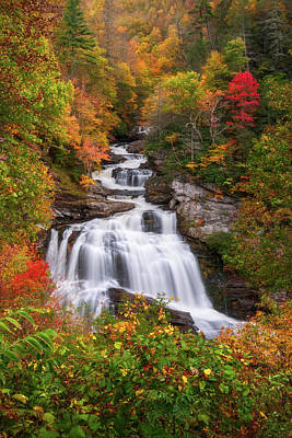 Landscapes Royalty-Free and Rights-Managed Images - Cullasaja Falls - WNC Waterfall in Autumn by Dave Allen