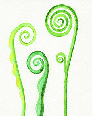 Studio Grafika Typography - Curls Of Young Fern Leaves Watercolor  by Irina Sztukowski