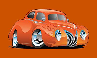 Digital Art - Custom Street Rod Vintage Car Cartoon by Jeff Hobrath