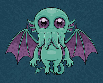 Royalty-Free and Rights-Managed Images - Cute Baby Cthulhu Monster by John Schwegel