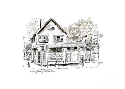 Drawing - Cute City Coffee House, JAM Coffee and Community by Mary Kunz Goldman