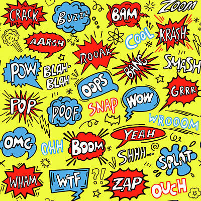 Royalty-Free and Rights-Managed Images - Cute comic seamless pattern. Superhero background. illustration by Julien