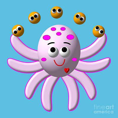 Priska Wettstein Pink Hues - Cute Critters With Heart Octopus Juggling Oranges by Rose Santuci-Sofranko