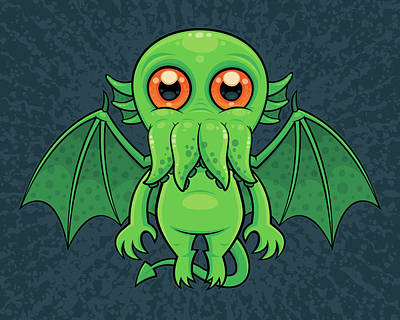 Bringing The Outdoors In - Cute Green Cthulhu Monster by John Schwegel