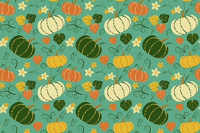 Royalty-Free and Rights-Managed Images - Cute pumpkins and leaves seamless pattern. Vegetable autumn background.  by Liem Duy