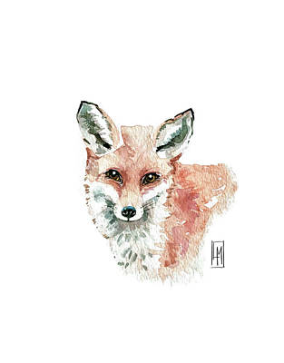 Colored Pencils - Cute Red Fox by Luisa Millicent