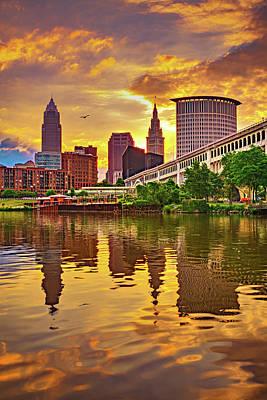 Cargo Boats - Cuyahoga River Skyline Sunrise - Cleveland Ohio by Gregory Ballos