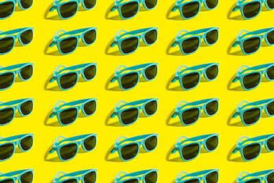 Royalty-Free and Rights-Managed Images - Cyan, aqua menthe sunglasses pattern isolated on background of yellow color.  by Julien