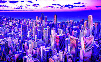 Royalty-Free and Rights-Managed Images - CyberPunk Neon, Cityscape - skyline - Urban -  Chicago 9 by Celestial Images