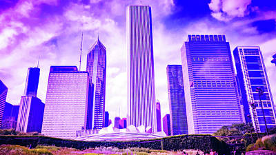 Royalty-Free and Rights-Managed Images - CyberPunk Neon, Cityscape - skyline - Urban -  Chicago Skyline, Illinois, USA - 34 by Celestial Images