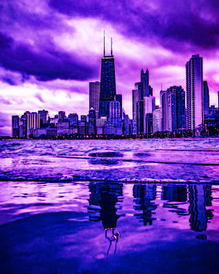 Royalty-Free and Rights-Managed Images - CyberPunk Neon, Cityscape - skyline - Urban -  Chicago Skyline, Illinois, USA - 4 by Celestial Images