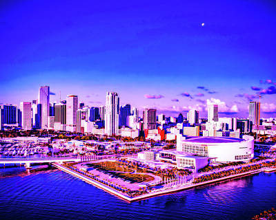 Royalty-Free and Rights-Managed Images - CyberPunk Neon, Cityscape - skyline - Urban -  Miami skyline, United States 4 by Celestial Images
