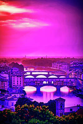 Royalty-Free and Rights-Managed Images - CyberPunk Neon, Cityscape - skyline - Urban -  Piazzale Michelangelo, Firenze, Italy by Celestial Images