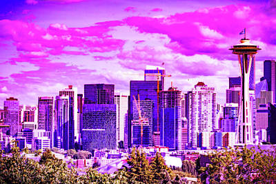 Royalty-Free and Rights-Managed Images - CyberPunk Neon, Cityscape - skyline - Urban -  Seattle 4 by Celestial Images
