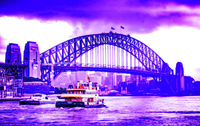 Royalty-Free and Rights-Managed Images - CyberPunk Neon, Cityscape - skyline - Urban -  The Sydney Harbour Bridge by Celestial Images